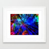 decal Framed Art Prints featuring Colorful forest by haroulita