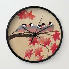 Java Sparrows in Japanese Maple Tree Wall Clock