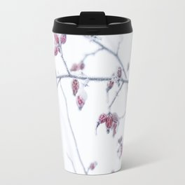 Winter time with red rosehips Travel Mug