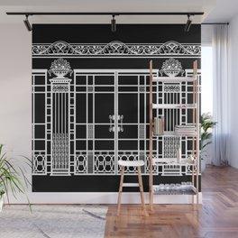 ART DECO, ART NOUVEAU IRONWORK: White on Black Wall Mural