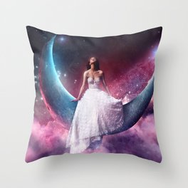 girl in th the moon Throw Pillow