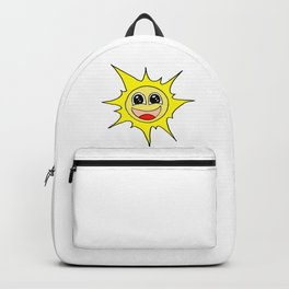 Drawn by hand a funny happy smiling sun for children and adults Backpack
