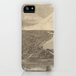 Vintage Pictorial Map of Davenport IA (1875) iPhone Case
