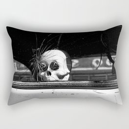 Dia de los Muertos Spooky Ride Black and White Photo  Rectangular Pillow