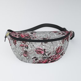 Vintage Roses and Spiders on Lace Halloweeen Watercolor Fanny Pack