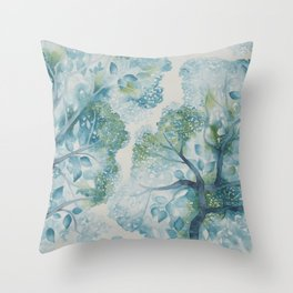 Tree Canopy in Teal Throw Pillow