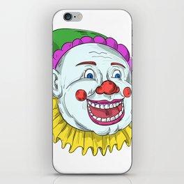 Vintage Circus Clown Smiling Drawing iPhone Skin