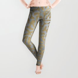 Modern elegant abstract faux gold silver pattern Leggings