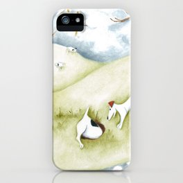 Dog sheep original art Jack Russell Terrier painting landscape iPhone Case