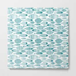 Green Fish White Metal Print