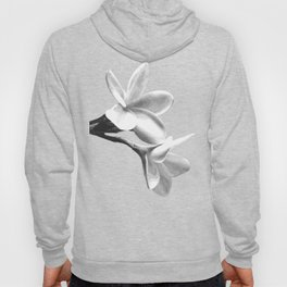 White Flowers Black Background Hoody