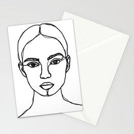 Model face line drawing - Bobbi Stationery Cards