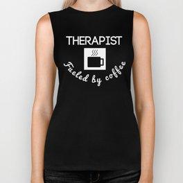 Therapist Fueled By Coffee Biker Tank