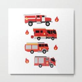 FIREFIGHTER TRUCKS Metal Print