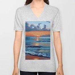 Bold Ocean Sunset Painting Unisex V-Neck