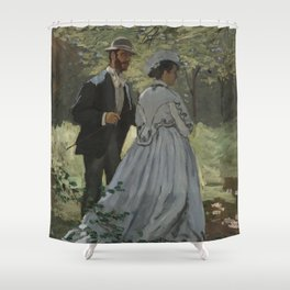 Claude Monet Bazille and Camille (Study for Déjeuner sur l'Herbe) 1865 Painting Shower Curtain