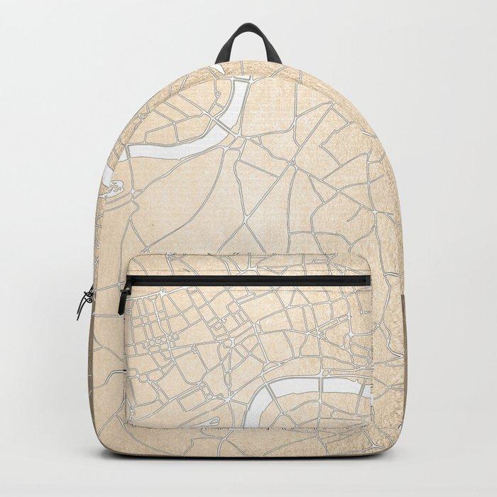 Gold on White London Street Map II Backpack