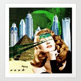 Surreal Futuristic City Woman Art Print
