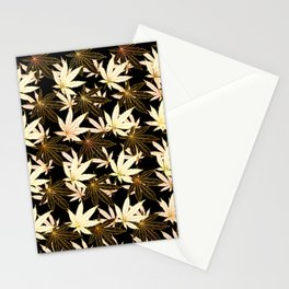 Cannabis Leaf (Golden Calico) - Black Stationery Cards