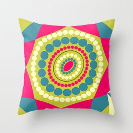 Abstract Geometric Circles and Triangles Floral Illustration Throw Pillow