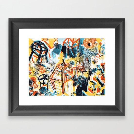 yellowredblueandblack Framed Art Print