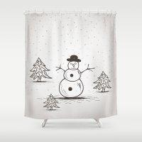 snowman Shower Curtains featuring snowman by aleksander1