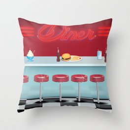 Classic All American Diner Throw Pillow