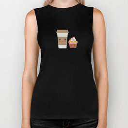 coffee in Paper thermo cup with brown cap and cup holder, chocolate cupcake. Kawaii Biker Tank