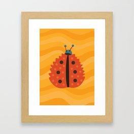 Orange Ladybug Autumn Leaf Framed Art Print