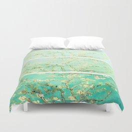 Vincent Van Gogh Almond Blossoms Panel art Aqua Green Duvet Cover