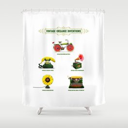 ORGANIC INVENTIONS SERIES: Vintage Organic Inventions Shower Curtain