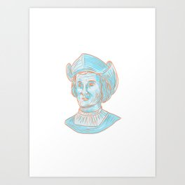 Christopher Colombus Explorer Bust Drawing Art Print