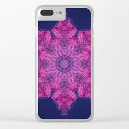 Cotton candy flower mandala Clear iPhone Case