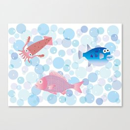 Snapper, Squid, Globefish and Bubble Canvas Print
