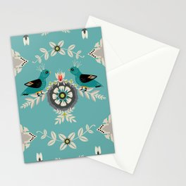 Scandi Bird Floral Turquoise Stationery Cards