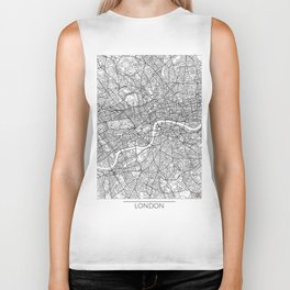 London Map White Biker Tank