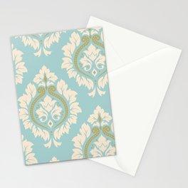Decorative Damask Art I Cream & Gold on Blue Stationery Cards