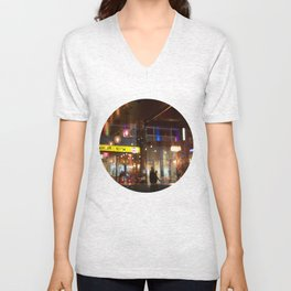 Window reflection Granville St Vancouver Unisex V-Neck
