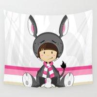donkey Wall Tapestries featuring Cute Donkey Girl by markmurphycreative