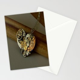 Steampunk Heart of Gold and Silver Stationery Cards