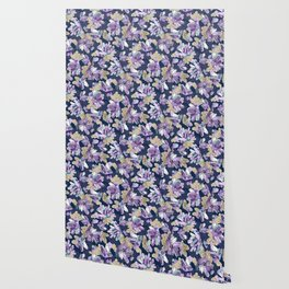 Amethyst Crystal Clusters / Violet, Blue and Gold Wallpaper
