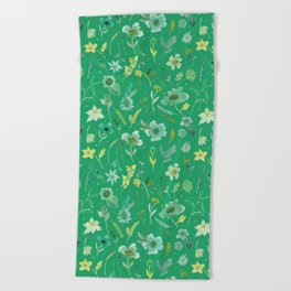 Verdant Flowers on Emerald Background Beach Towel