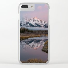 Snowy Pink Sunrise in the Tetons Clear iPhone Case