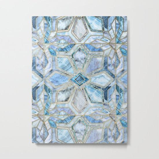 Geometric Gilded Stone Tiles in Soft Blues Metal Print