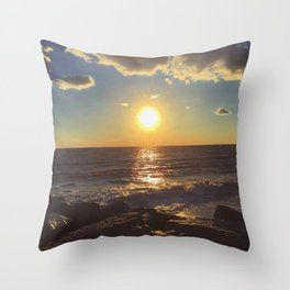 Cape May Jetty Sunset Throw Pillow
