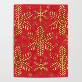 DP044-2 Gold snowflakes on red Poster