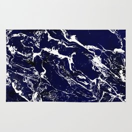 Modern Navy blue watercolor marble pattern Rug