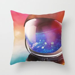 Sea Inside    surreal, surrealism, digitalart, graphicdesign, scifi, scifiart, astronaut, sea, fish, Throw Pillow