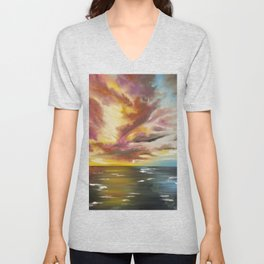 Sky Fire, Fire in the Sky Painting, Sunset Painting, On Fire Sunset Unisex V-Neck