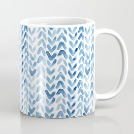 Blue Chevron Watercolour Coffee Mug
